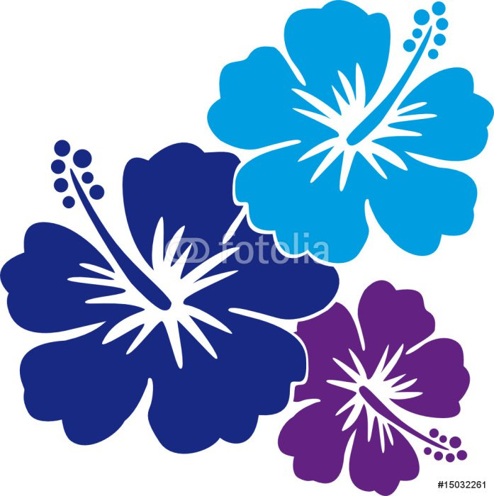 Sticker - Pixerstick Hawaiiblumen blau - Holidays