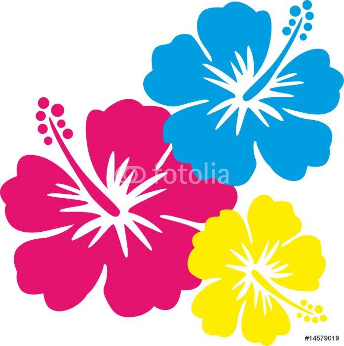 Sticker - Pixerstick Hawaiiblumen pink, blau, gelb - Wall decals