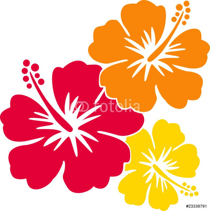 Sticker - Pixerstick hawaiiblumen rot-orange-gelb - Holidays