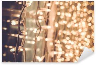 Pixerstick Sticker Helder schitterend mooie kerstverlichting op het raam in de