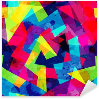 Pixerstick Sticker Heldere geometrische naadloze patroon met grunge effect