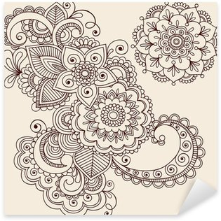 Henna Tattoo Abstract Paisley Flower Doodles Vector Sticker - Pixerstick