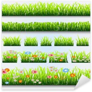 Sticker Pixerstick Herbe et fleurs