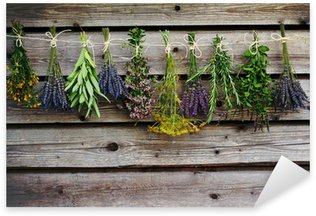 Sticker - Pixerstick Herbs drying on the wooden barn in the garden