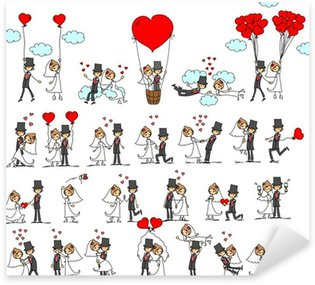Pixerstick Sticker Het beeld, de bruid en bruidegom in de liefde, vector