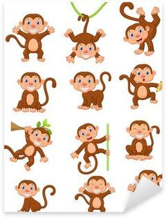 Sticker Pixerstick Heureux ensemble de collection de bande dessinée de singe