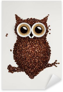 Sticker Pixerstick Hibou de café.