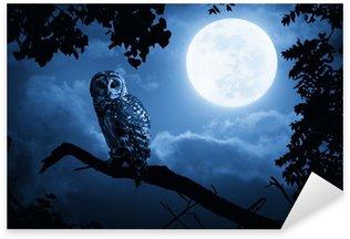 Sticker Pixerstick Hibou éclairé par la pleine lune la nuit d'Halloween