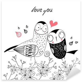 Sticker Pixerstick Hiboux amour