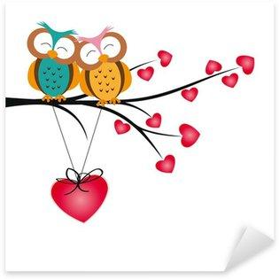 Sticker Pixerstick Hiboux et les coeurs