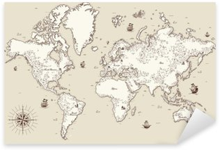 Sticker - Pixerstick High detailed, Old world map with decorative elements
