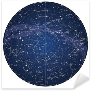 High detailed sky map of Northern hemisphere with names Sticker - Pixerstick