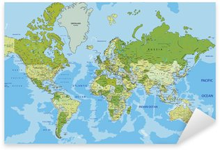 Highly detailed political World map with labeling. Sticker - Pixerstick