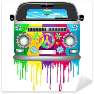 Hippie Van Dripping Rainbow Paint Sticker - Pixerstick