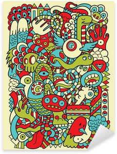 Sticker - Pixerstick Hipster Doodle Monster Collage Background