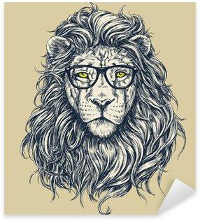Sticker - Pixerstick Hipster lion vector illustration. Glasses separated.