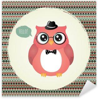 Sticker - Pixerstick Hipster Owl in Textured Frame design illustration