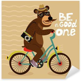 Sticker - Pixerstick Hipster poster with geek bear