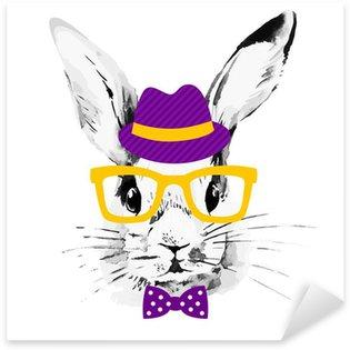 Sticker - Pixerstick Hipster rabbit. Hand drawn watercolor sketch portrait