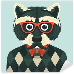 Sticker - Pixerstick Hipster raccoon. Vector illustration.