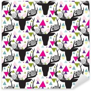 Sticker - Pixerstick Hipster seamless pattern with triangle, deer horns
