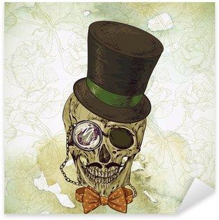 Sticker - Pixerstick Hipster skull vintage background