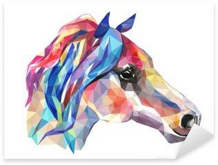 Pixerstick Sticker Hoofd van het paard, mozaïek. Trendy stijl geometrische op een witte achtergrond.