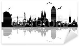 Sticker Pixerstick Horizon urbain de Barcelone