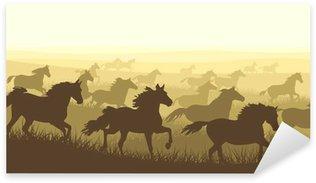 Sticker - Pixerstick Horizontal illustration herd of horses.