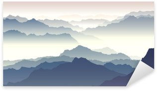 Horizontal illustration of twilight in mountains. Sticker - Pixerstick