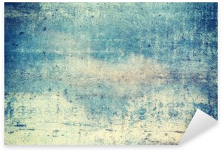 Horizontally oriented blue colored grunge background Sticker - Pixerstick