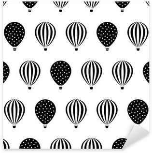 Sticker - Pixerstick Hot air balloon seamless pattern. Baby shower vector illustrations isolated on white background. Polka dots and stripes. Black and white hot air balloons design.