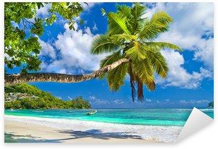 Pixerstick Sticker Idyllische tropische landschap - Seychellen