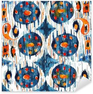 Pixerstick Sticker Ikat naadloze bohemien etnische patroon in aquarel stijl. Waterverf het oosterse ornamenten.