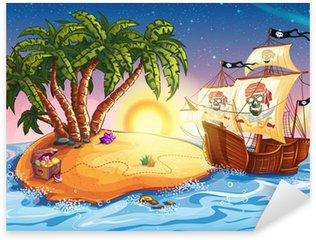 Pixerstick Sticker Illustratie van schateiland en piratenschip