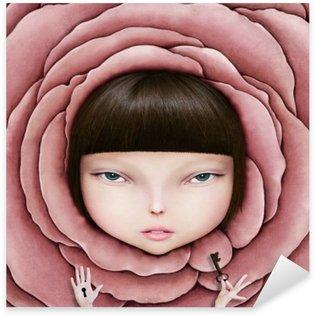 Sticker Pixerstick Illustration conceptuelle ou une affiche avec la tête de la jeune fille en pétale de rose avec la clé dans sa main.
