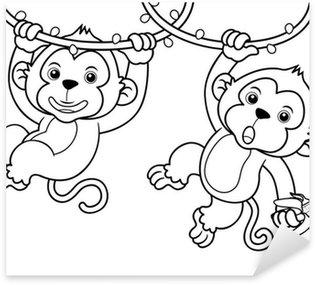 Sticker Pixerstick Illustration de bande dessinée Monkeys - Livre à colorier