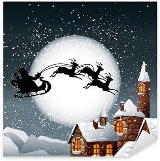 Sticker Pixerstick Illustration de Noël du Père Noël et ses rennes