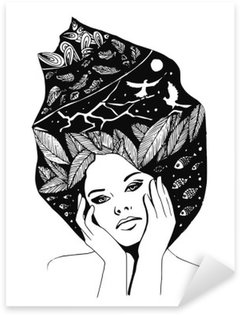 illustration, graphic black-and-white portrait of woman Sticker - Pixerstick