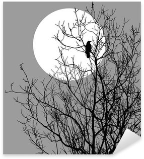 Sticker - Pixerstick illustration ravens sitting on tree against sun