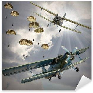 Sticker Pixerstick Image de style rétro des biplans avec infanterie aéroportée.