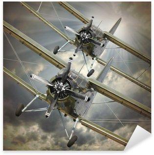 Sticker Pixerstick Image de style rétro des biplans. thème des transports.