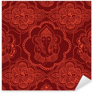 Pixerstick Sticker Indische naadloze patroon met ornament