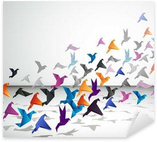 Pixerstick Sticker Indoor vlucht, Origami Vogels beginnen in een gesloten ruimte te vliegen.