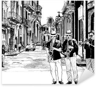 Sticker - Pixerstick jazz band in cuba