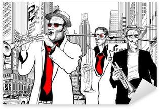 Pixerstick Sticker Jazz band in een straat van nieuw-York