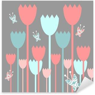 Sticker Pixerstick Jolie carte de voeux avec des fleurs et des papillons