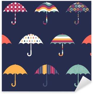Sticker Pixerstick Jolies Parapluies mignon Colorful Pattern Seamless Childish