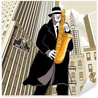 Sticker Pixerstick Joueur de saxophone dans une rue