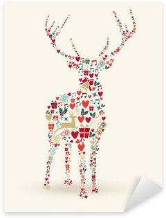 Sticker Pixerstick Joyeux Noël cerfs illustration